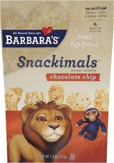 Barbara's Bakery Snackimals Chocolate Chip - 6 x 7.5 ozs.