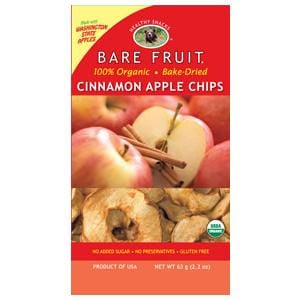 Bare Fruit Apple Chips, Cinnamon, Dried, Organic - 12 x 2.2 ozs.