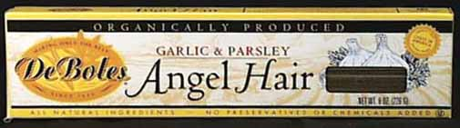 DeBoles Angel Hair Garlic & Parsley Organic - 12 x 8 ozs.