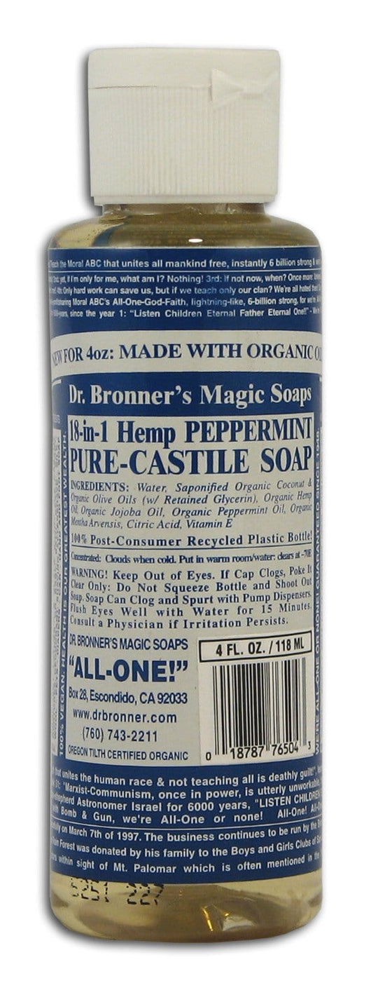Dr Bronner Peppermint Castile Liquid Soap - 4 ozs.