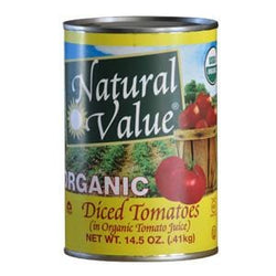 Natural Value Tomatoes, Diced, No Salt Added, Organic - 12 x 14.5 ozs.