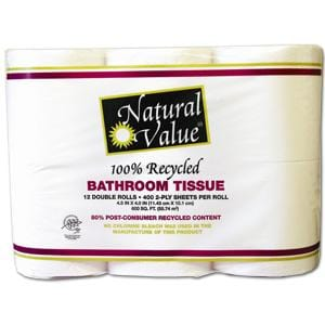 Royal Paper/Natural Value Bath Tissue 400 ct Dbl Roll-Recycled - 12 rolls