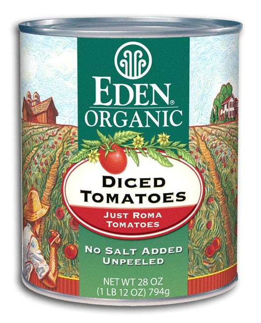 Eden Foods Diced Tomatoes Just Romas Organic - 12 x 28 ozs.