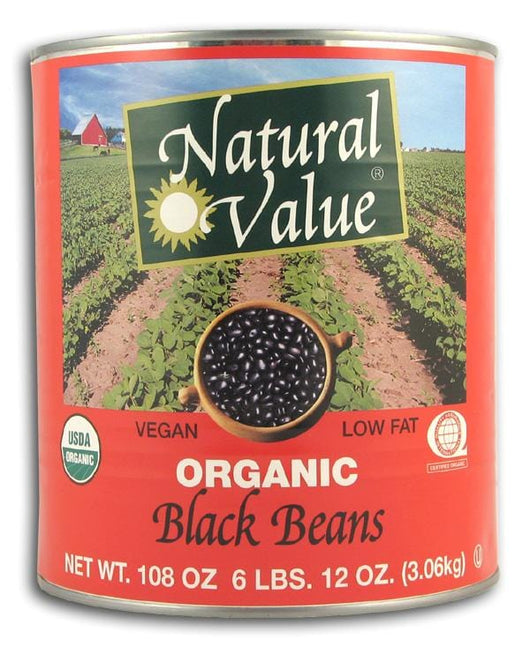Natural Value Black Beans (BIG can) Organic - 6 x 108 ozs.