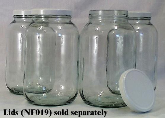 Packaging Supplies Wide Mouth Glass Gallon Jars - without lids - Case/4