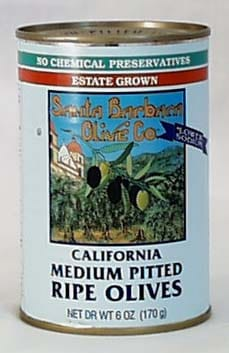 Santa Barbara Black Olives Pitted Medium - 12 x 6 ozs.