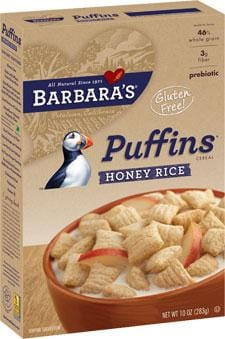 Barbara's Bakery Puffins Honey Rice Wheat Free - 12 x 10 ozs.