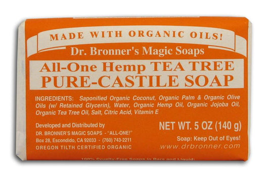 Dr Bronner Hemp Tea Tree Pure Castile Soap Organic - 5 oz. bar
