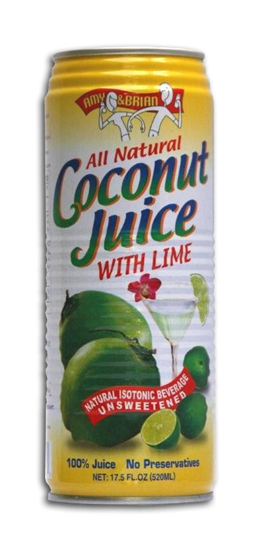 Amy & Brian Coconut Juice with Lime - 3 x 17.5 ozs.