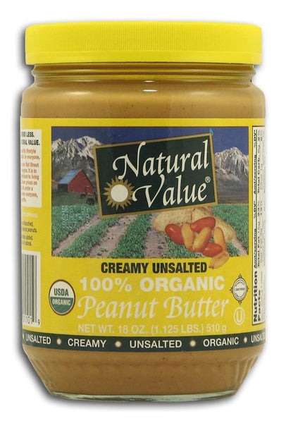 Natural Value Peanut Butter Creamy No-Salt Organic - 18 ozs.