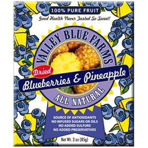 Valley Blue Farms Blueberries & Pineapple, All Natural, Dried - 3 ozs.