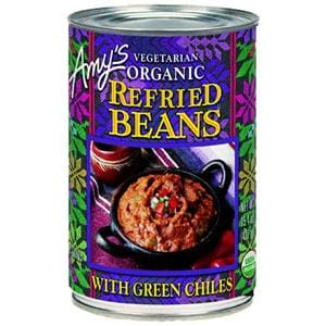 Amy's Refried Beans with Green Chiles Organic - 12 x 15.4 ozs