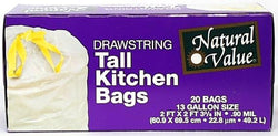 Natural Value Tall Kitchen Bags Drawstring - 20 ct.