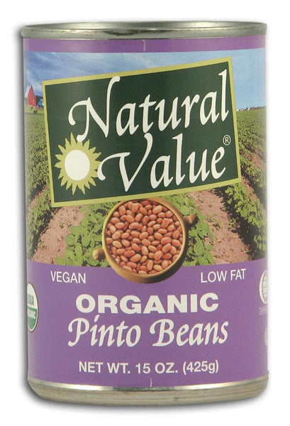 Natural Value Pinto Beans- Canned Organic - 12 x 15 ozs.