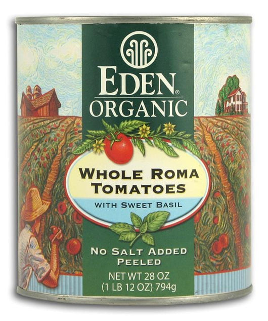 Eden Foods Whole Roma Tomatoes with Sweet Basil Organic - 12 x 28 ozs.