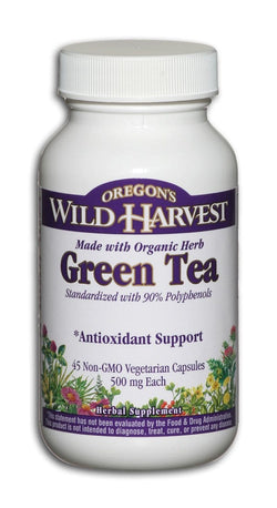Oregon's Wild Harvest Green Tea - 90% polyphenols - 45 veg caps