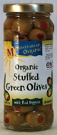 Mediterranean Organics Stuffed Green Olives with Peppers Organic - 8.5 ozs.