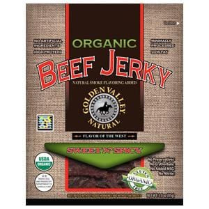 Golden Valley Natural Beef Jerky, Sweet N' Spicy, Organic - 24 x 3 ozs.