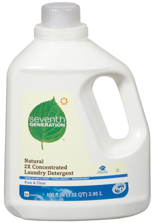 Seventh Generation 2X Ultra Concentrated Laundry Detergent Free & Clear 64 load - 4 x 100 ozs.