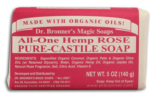 Dr Bronner Hemp Rose Pure Castile Soap Organic - 5 oz. bar