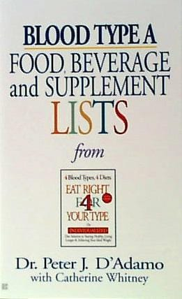 Books Blood Type A Food Bev/Supplement - 1 book