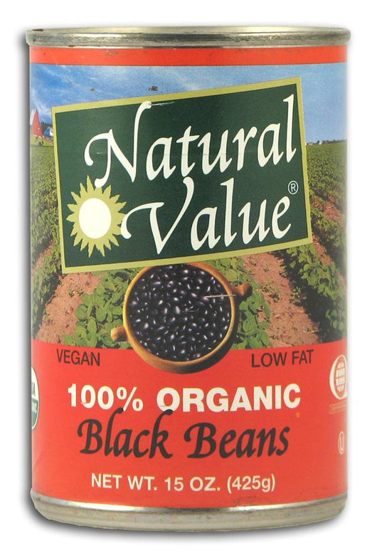 Natural Value Black Beans- Canned Organic - 12 x 15 ozs.