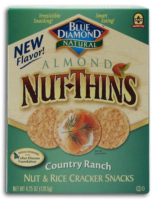 Blue Diamond Almond Nut Thins Country Ranch - 3 x 4.25 ozs.