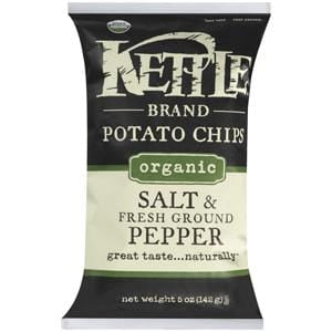 Kettle Foods Potato Chips, Sea Salt & Black Pepper, Organic - 5 ozs.