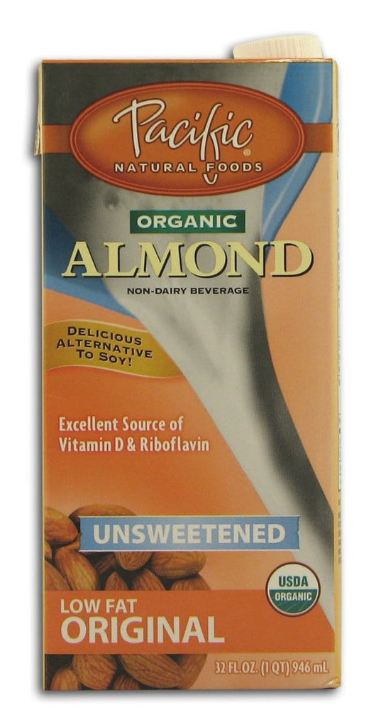 Pacific Foods Almond Beverage Unsweetened Original Organic - 12 x 32 ozs.