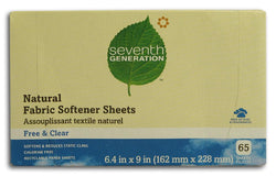 Seventh Generation Fabric Softener Sheets Free & Clear - 1 box