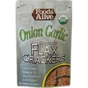 Foods Alive Onion Garlic Flax Crackers Organic - 6 x 4 ozs.