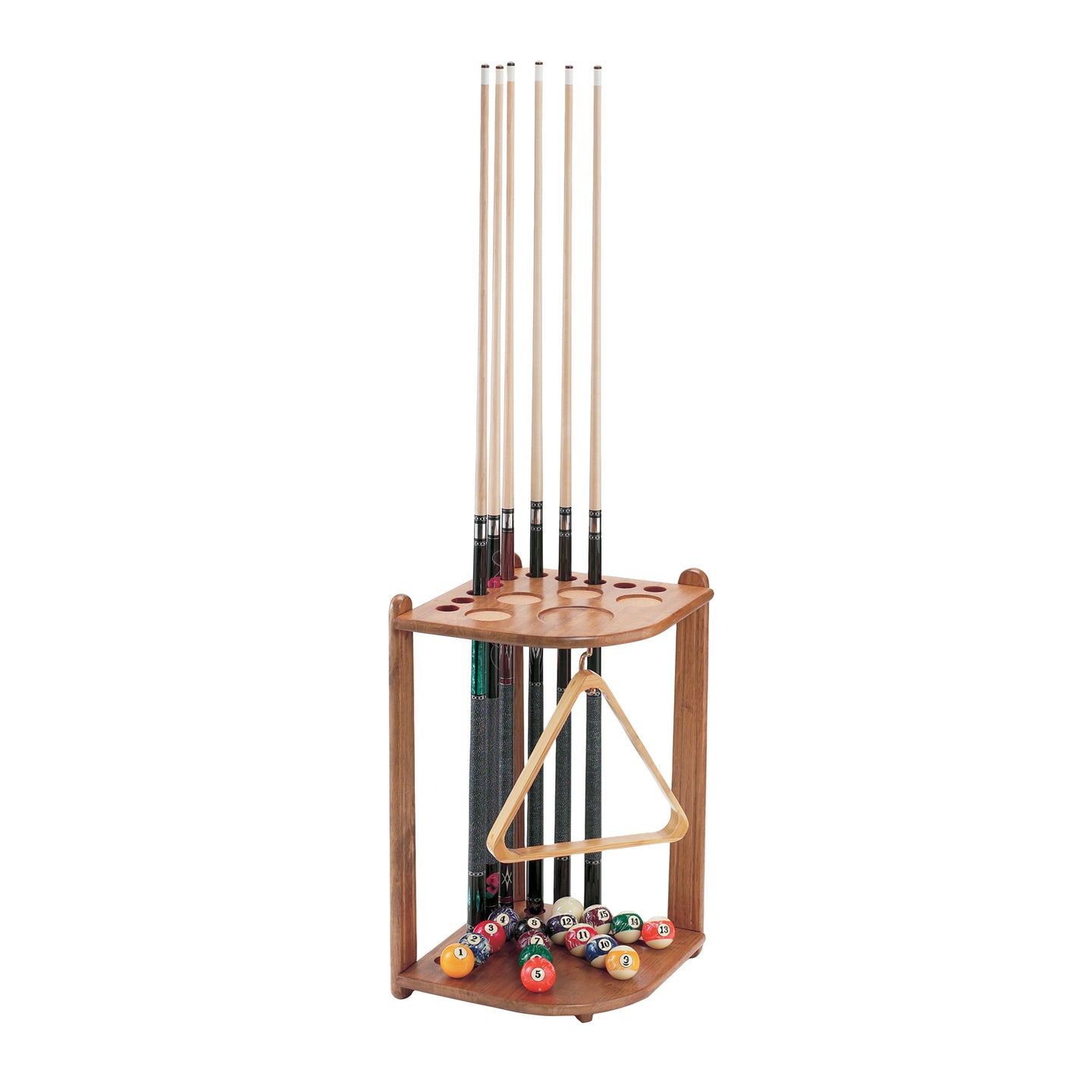 Viper Oak 10 Cue Corner Cue Rack - Game Room Lounge Cue Rack, Viper