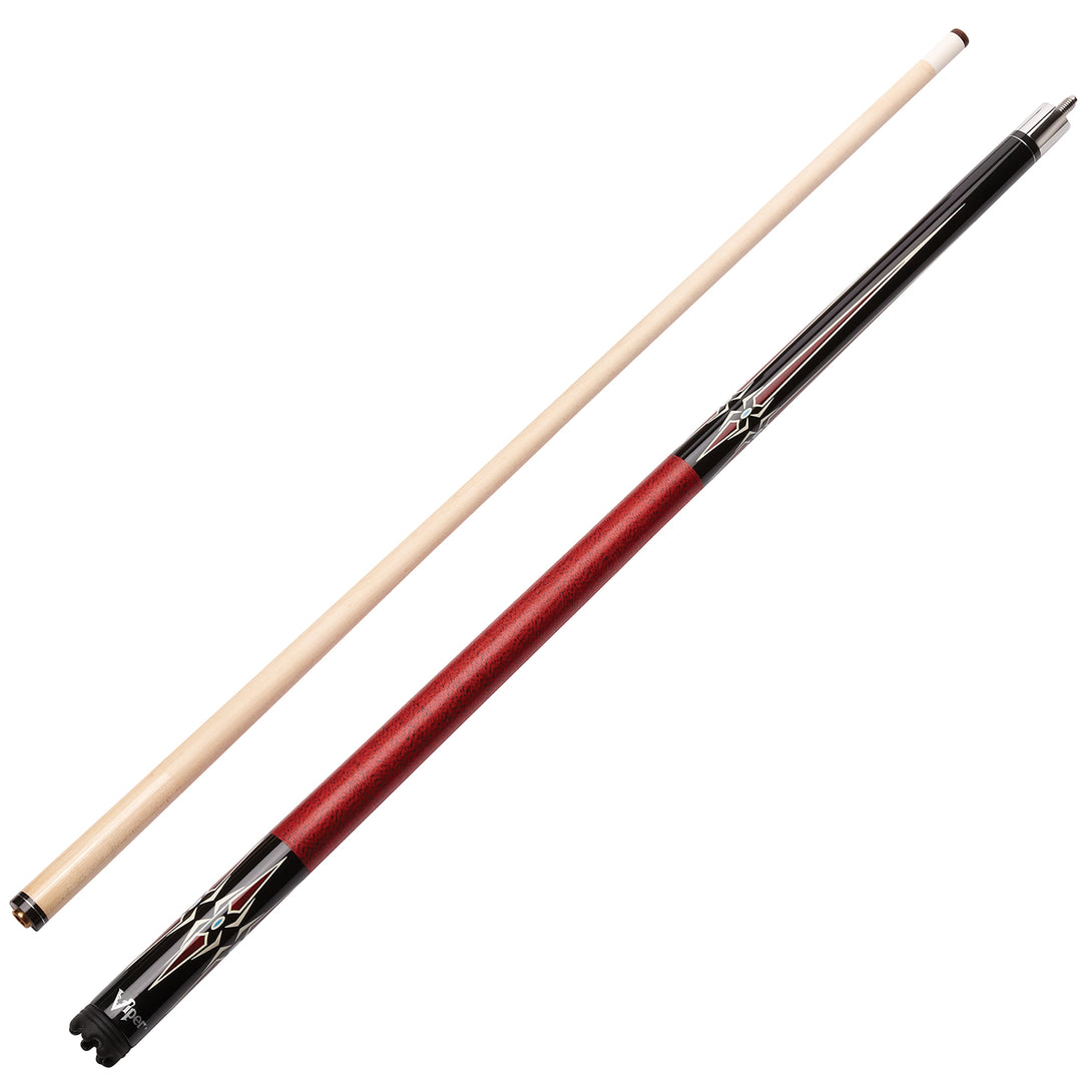 Viper Sinister Series Cue with Red Diamonds - Game Room Lounge Cue Stick, Viper