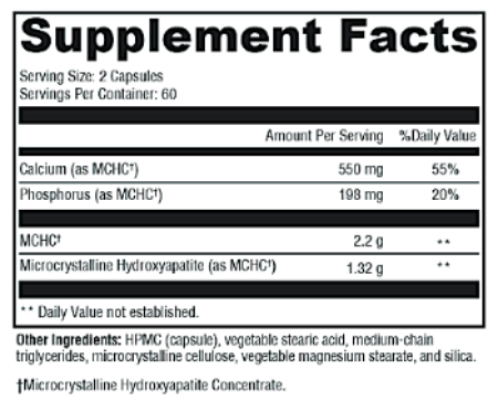 Calcium 1100 mg Supplement Facts and Ingredients