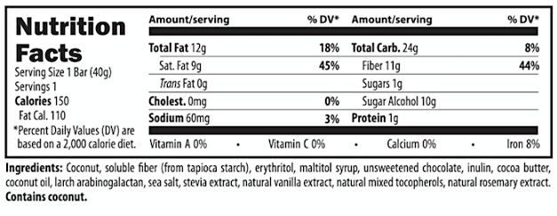 Coconut JoyBar Supplement and Nutrition Facts