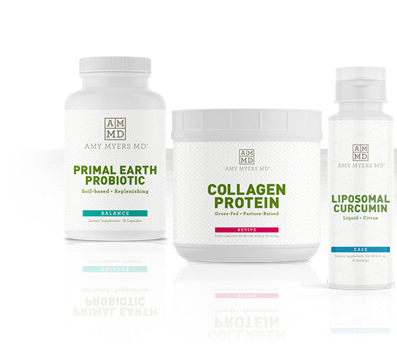 Amy Myers MD supplements: Primal Earth Probiotic, Collagen Protein, Liposomal Curcumin