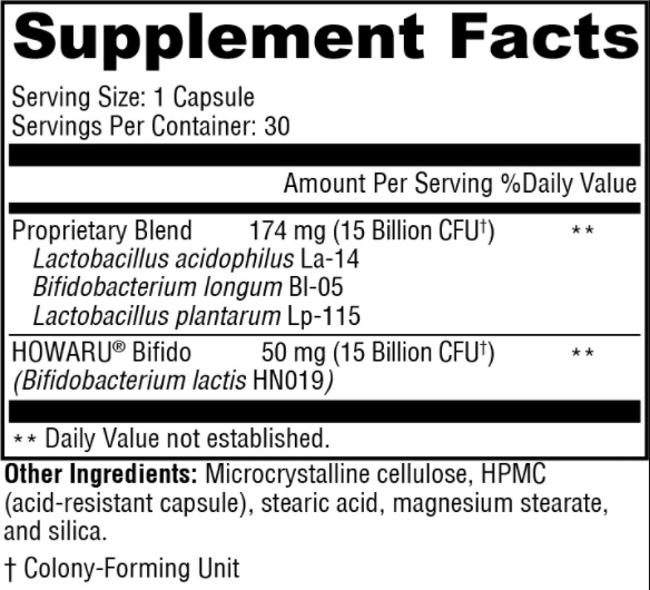 Probiotic Capsules 30 Billion Supplement Facts and Ingredients