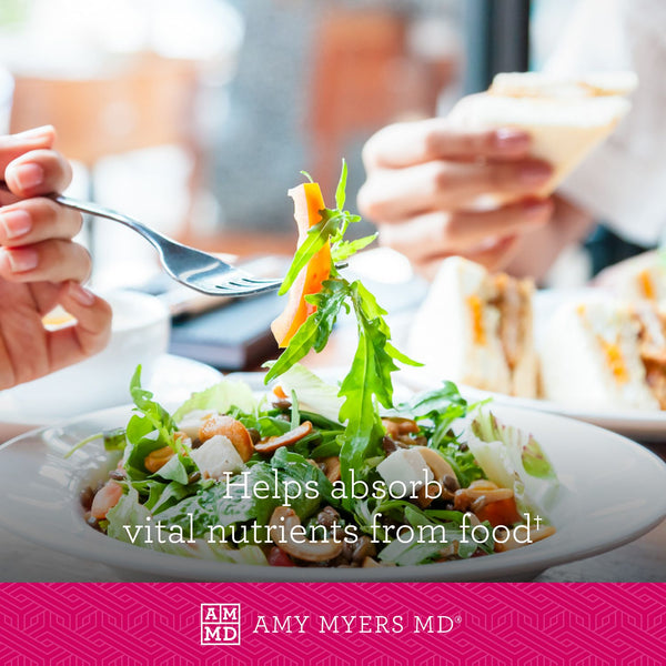 A Woman Eating a Salad - Complete Enzymes Helps Absorb Vital Nutrients from Food - Amy Myers MD®