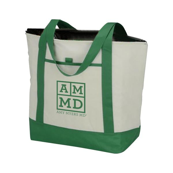 Amy Myers insulated tote grocery bag with AMMD logo