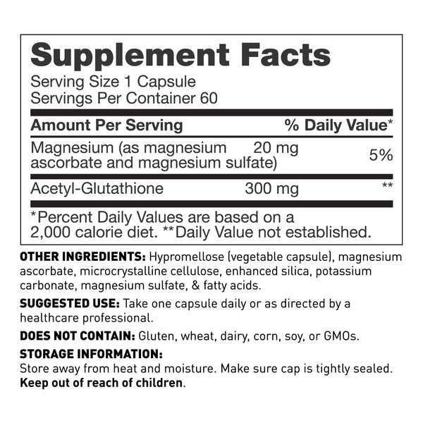 Acetyl Glutathione supplement, 60 capsules - supplement facts - Amy Myers MD®
