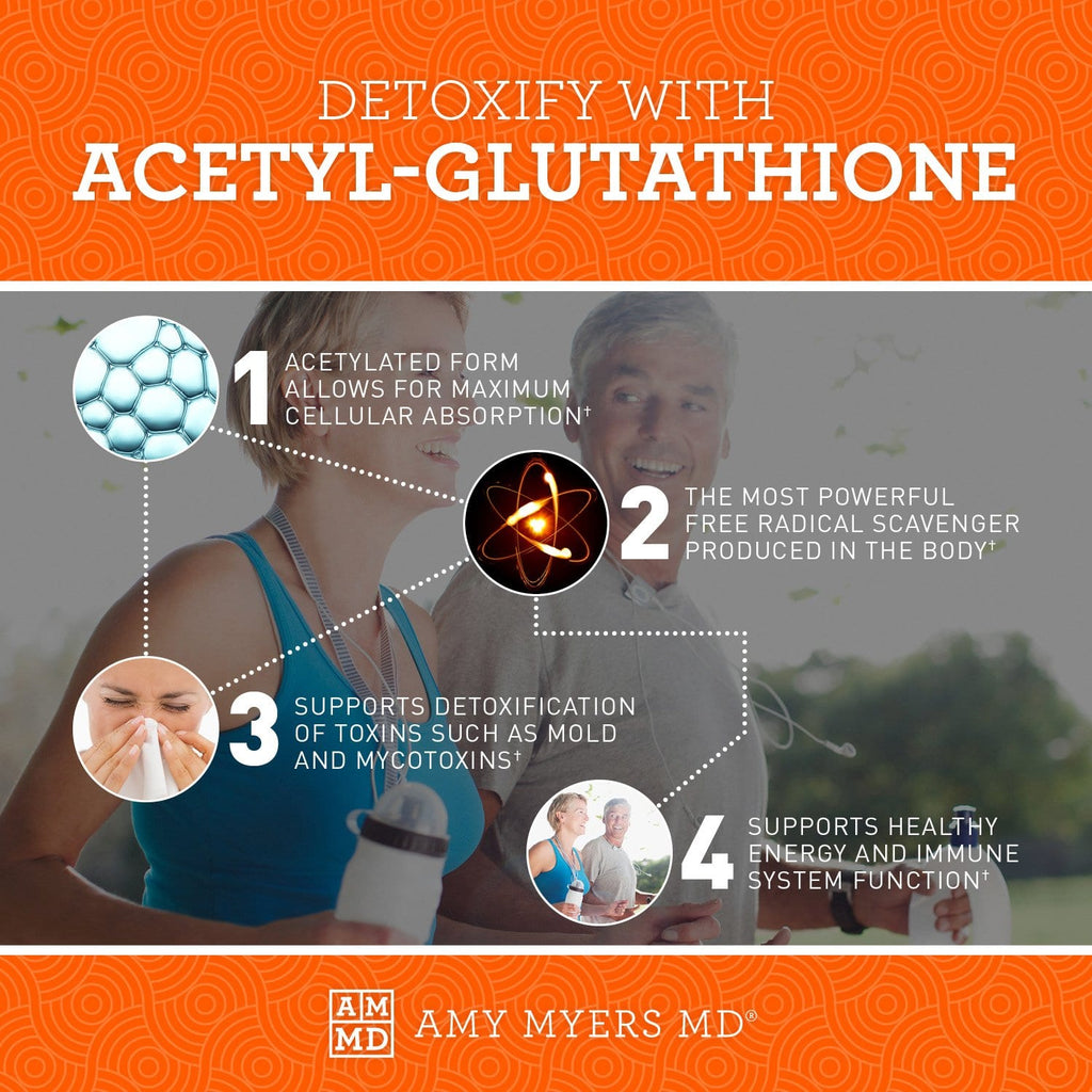 Detoxify with Acetyl-Glutathione - Free Radical Scavenger - Infographic - Amy Myers MD®