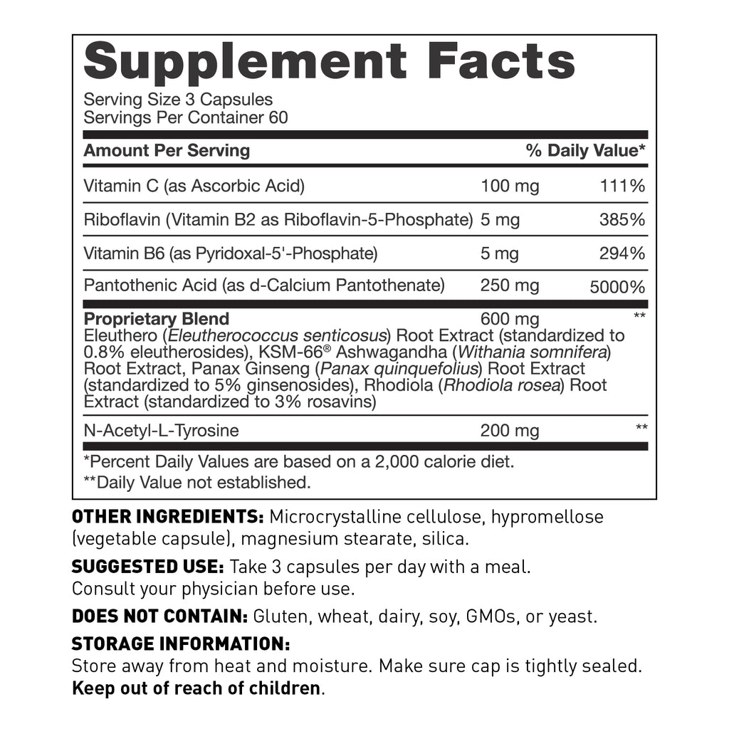 Adrenal health daily support supplement in capsules - Nutrition Facts - Amy Myers MD®