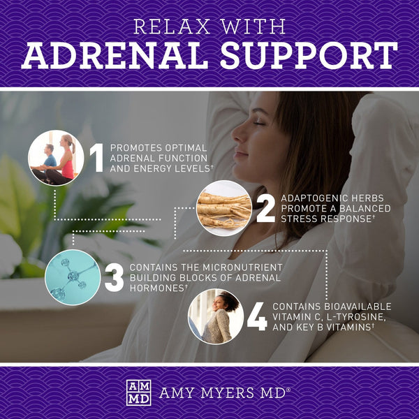 4 Ways to Relax with Adrenal Support Infographic- Amy Myers MD®