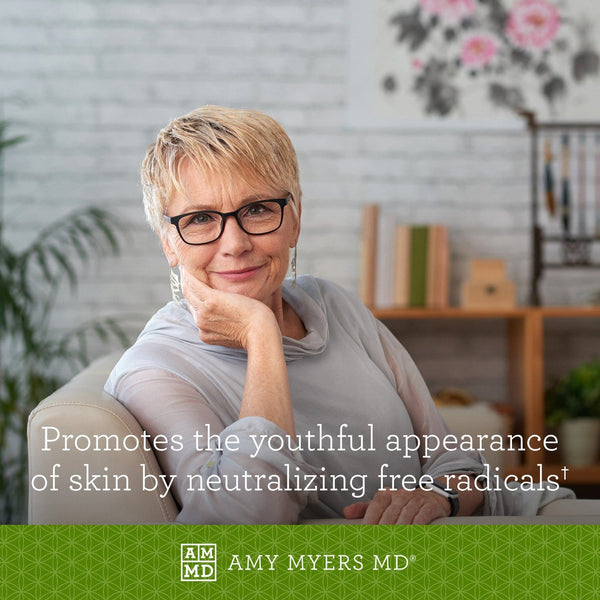 Woman relaxing - Astaxanthin promotes the youthful appearance of skin by neutralizing free radicals - Amy Myers MD®