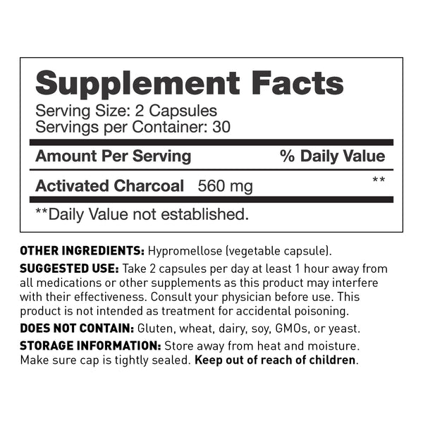 coconut charcoal with 60 capsules - supplement facts - Amy Myers MD®