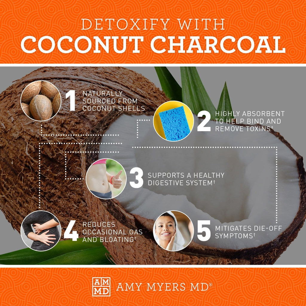 Detoxify with Coconut Charcoal - Infographic - Amy Myers MD®