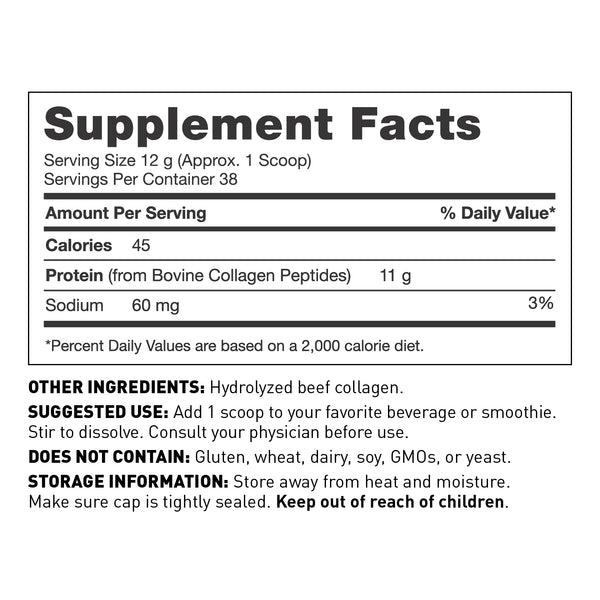 Collagen protein powder for women and men - supplement facts - Amy Myers MD®