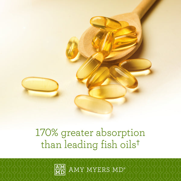 Omega-3 Fish Oil Capsules in Wooden Spoon - 170% Greater Absorption - Amy Myers MD®