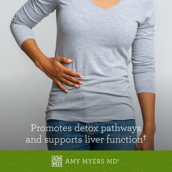 Woman holding her side - Curcumin promotes detox and supports liver function - Amy Myers MD®
