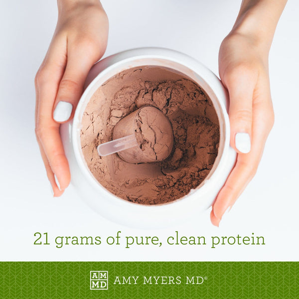 Container of Paleo Protein - Double Chocolate flavor - 21 grams of pure, clean protein - Amy Myers MD®